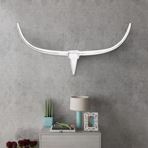 Stierenkop voor aan de muur aluminium 125 cm zilverkleurig